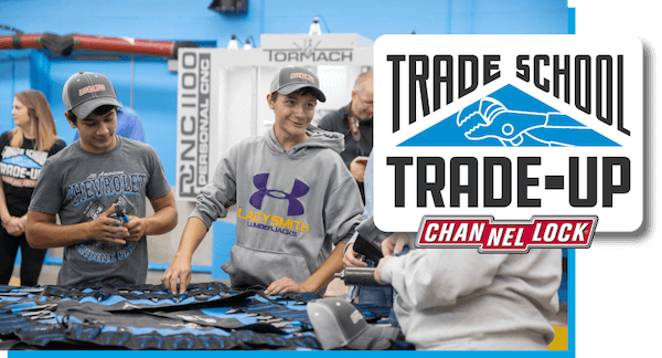 Trade School Trade-Up students with Channellock tools
